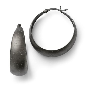 Leslie's SS Ruthenium-plated Radiant Essence Hoop Earrings