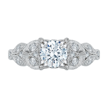 14K White Gold Round Diamond Floral Engagement Ring (Semi-Mount)