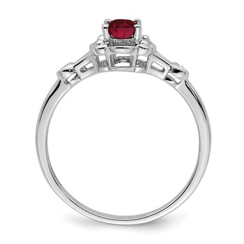 Sterling Silver Rhodium-plated Created Ruby & Diam. Ring
