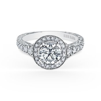 Milgrain Halo Diamond Engraved Engagement Ring