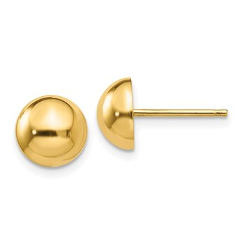 14k Polished 8mm Half Ball Post Earrings