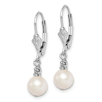Sterling Silver Rhodium plated White FW Cultured Pearl Dangle Earrings