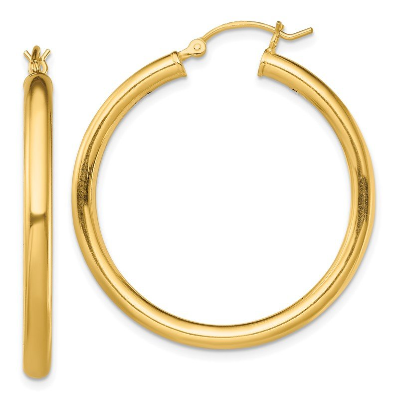 Quality Gold Sterling Silver Gold-Tone Polished 3x35mm Hoop Earrings
