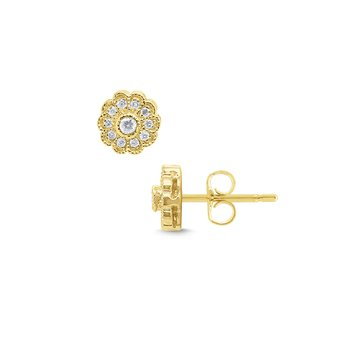14k Gold and Diamond Flower Stud Earrings