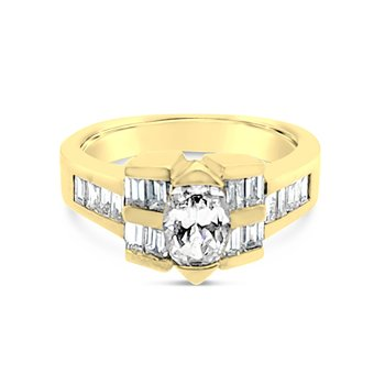 18K Yellow Gold Diamond Retro Vintage Ring