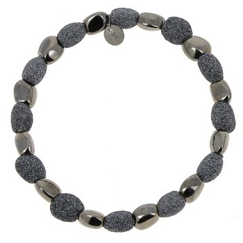Alternating Polvere Di Sogni Stones Bracelet - Dark Gray Polvere & Ruthenium
