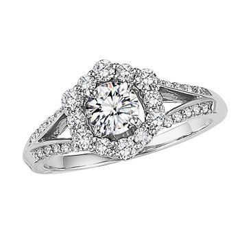 14K Diamond Engagement Ring 1/2 ctw With 1/2 ct Center.