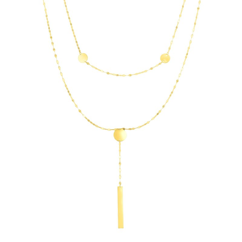Royal Chain 14K Gold Discs and Mirror Chain Multi-Strand Necklace