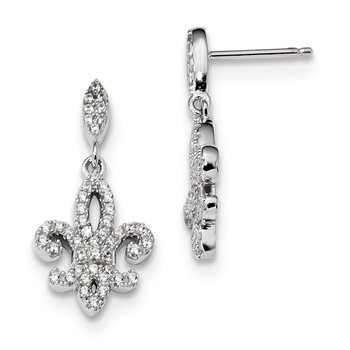 SS Rhodium-Plated CZ Brilliant Embers Fleur De Lis Post Earrings
