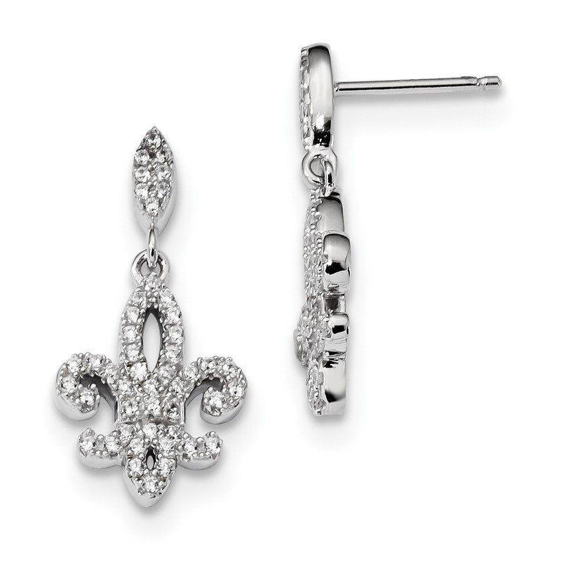 Quality Gold Sterling Silver & CZ Brilliant Embers Fleur De Lis Dangle Post Earrings