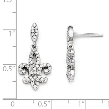Sterling Silver & CZ Brilliant Embers Fleur De Lis Dangle Post Earrings