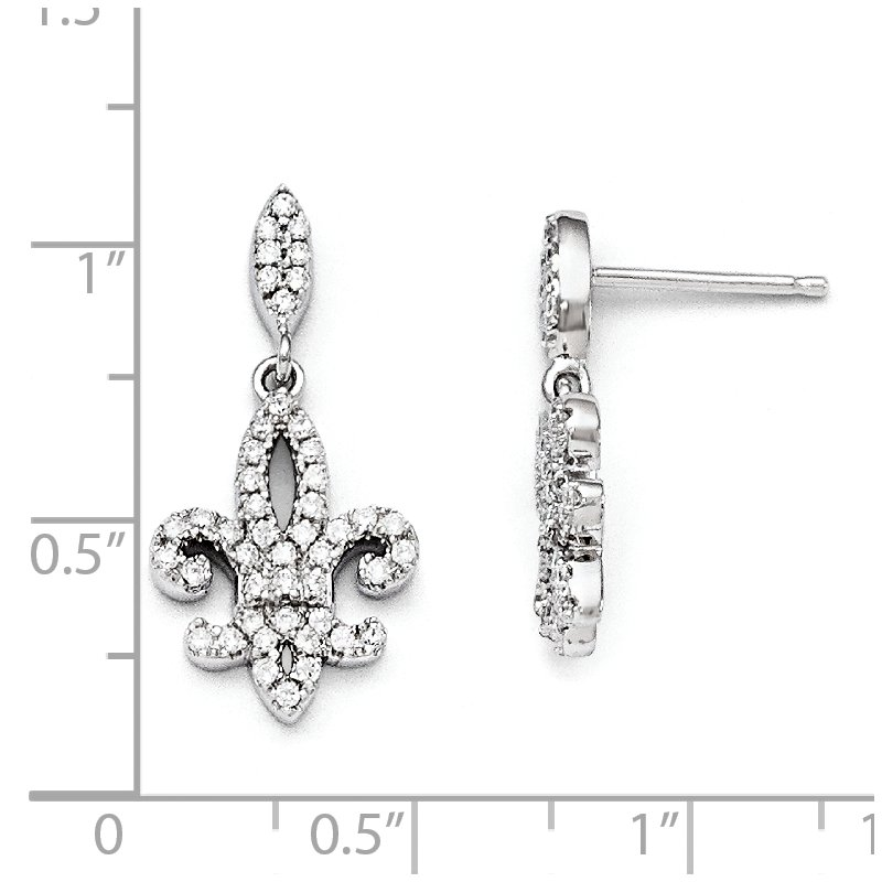 Quality Gold SS Rhodium-Plated CZ Brilliant Embers Fleur De Lis Post Earrings