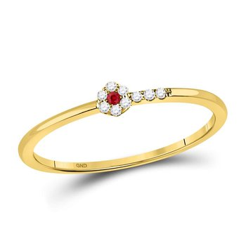 10kt Yellow Gold Womens Round Ruby Diamond Stackable Band Ring 1/20 Cttw