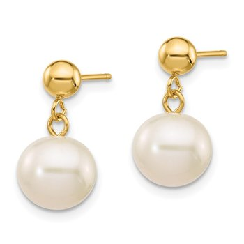 14k 8-8.5mm White Round Freshwater Cultured Pearl Dangle Post Earrings