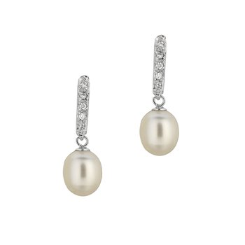 Silver Freshwater Pearl and CZ Drop Earrings