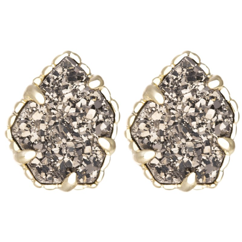 Kendra Scott Tessa Gold Stud Earrings In Platinum Drusy