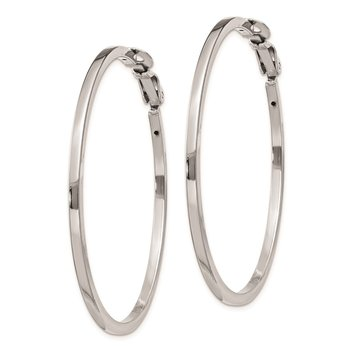 Sterling Silver RH-plated 2x50mm Omega Back Hoop Earrings