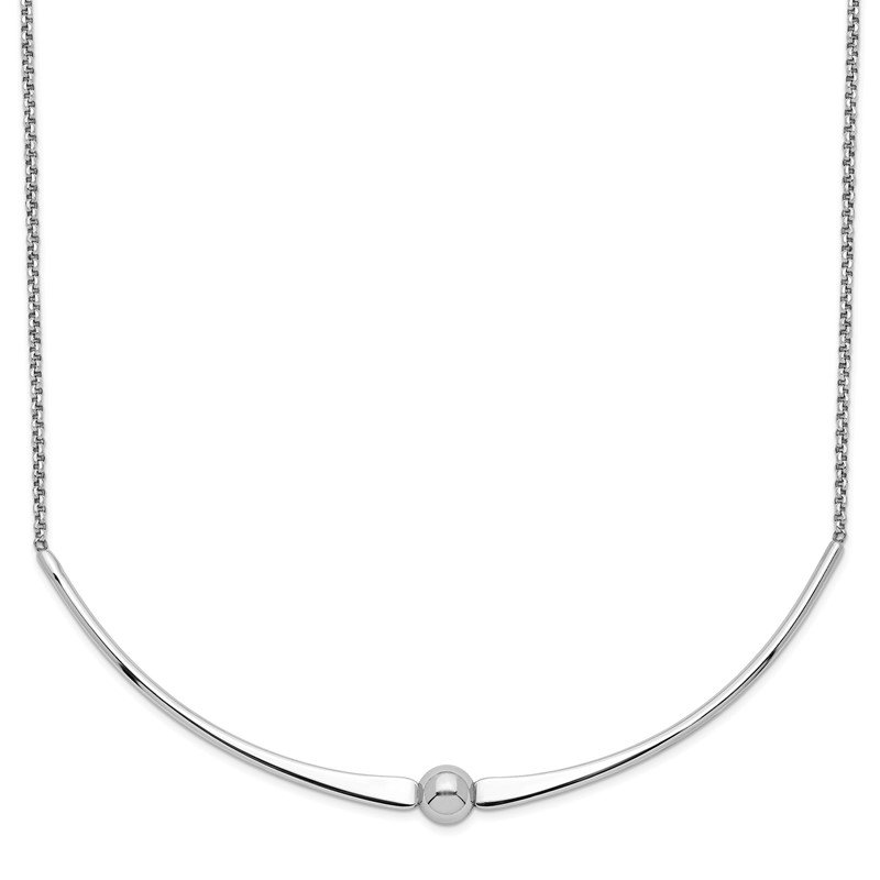 Quality Gold Sterling Silver Rhodium-plated Polished w/ 1 in ext. Necklace