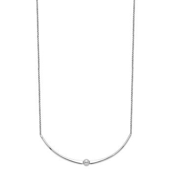 Sterling Silver Rhodium-plated Polished w/ 1 in ext. Necklace