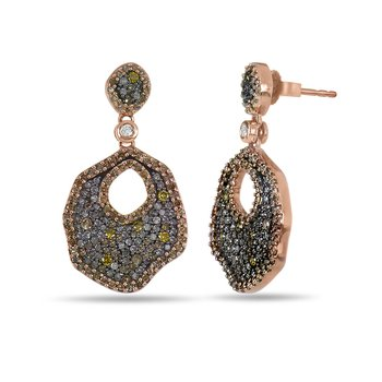 10K RG Diamond Fancy Yellow Dia and Champagne Dia Dangling Earring in Pave Setting