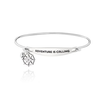 ADVENTURE IS CALLING ID BANGLE - SS Lt Ox Finish, M/L