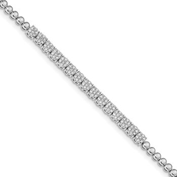 14k White Gold Graduated Bead Diamond Bracelet