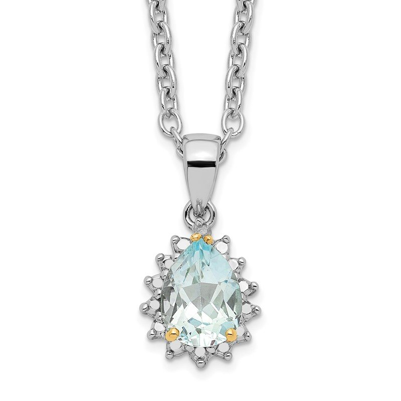 Quality Gold SS & 14k True Two-tone Sky Blue Topaz & Diamond Necklace