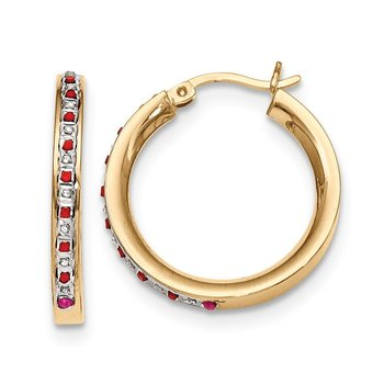 Sterling Silver & Gold-plated Dia. & Ruby Round Hoop Earrings