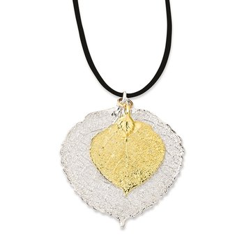 Silver and 24k Gold Dipped Double Aspen Leaf 20 inch Leather Cord Necklace