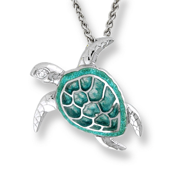 Sterling Silver Sea Turtle Necklace-Green.  Diamonds.