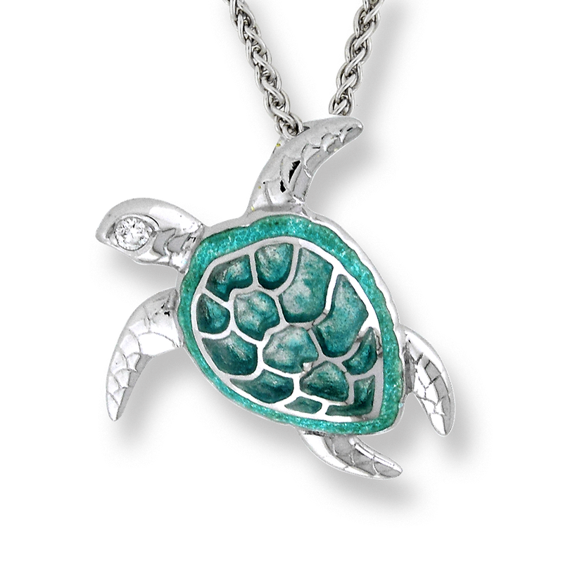 Beeghly co nicole barr designs sterling silver sea turtle nicole barr designs sterling silver sea turtle necklace green diamonds aloadofball Image collections