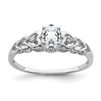 Sterling Silver Rhodium-plated White Topaz & Diam. Ring