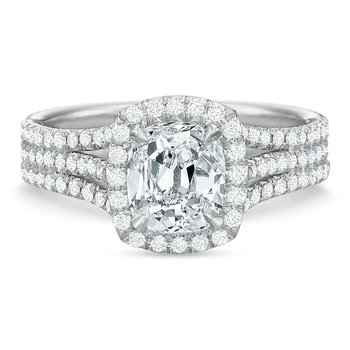 18K White gold halo  Semi Mount for 2.00.00-2.50 ct center