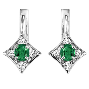 14K White Gold Color Ensembles Prong Emerald Earrings 1/1(2 ct. tw.)