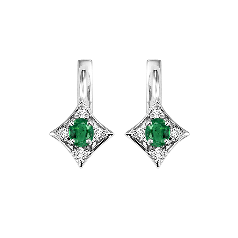 Gems One 14K White Gold Color Ensembles Prong Emerald Earrings 1/1(2 ct. tw.)