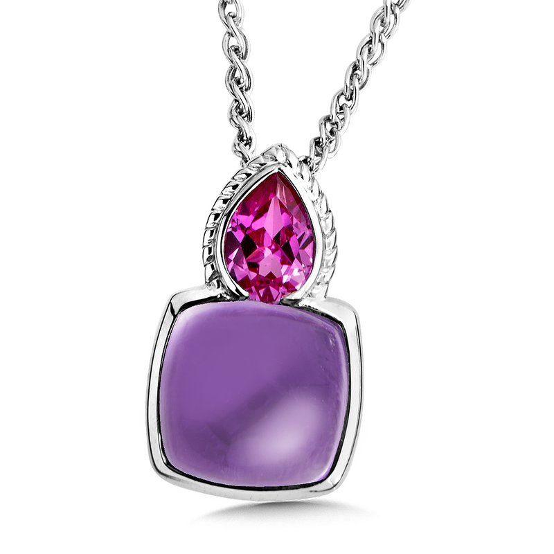 Sterling Silver Amethyst and Pink Sapphire Pendant