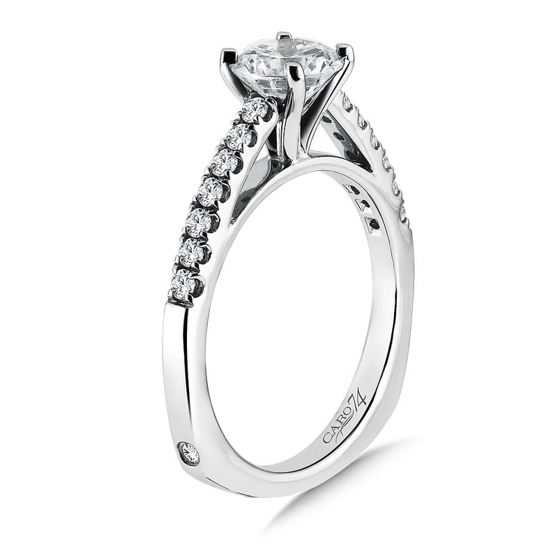 Caro74 Prong Set Round Diamond Engagement Ring With Side Stones in 14K White Gold with Platinum Head (1ct. tw.)