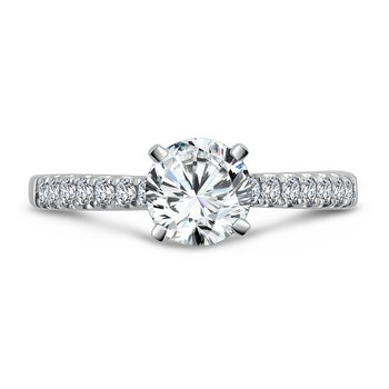 Prong Set Round Diamond Engagement Ring With Side Stones in 14K White Gold with Platinum Head (1ct. tw.)