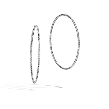Classic Chain Silver Extra-Large Hoop Earrings in Silver