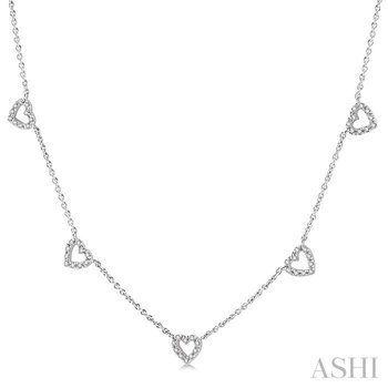 heart shape diamond station necklace