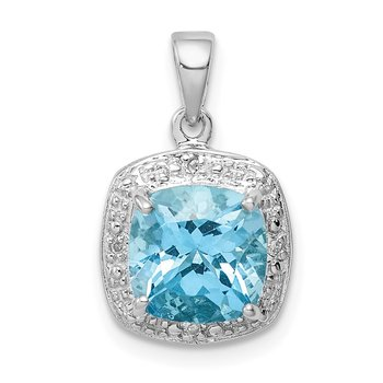 Sterling Silver Rhodium Light Swiss Blue Topaz Pendant