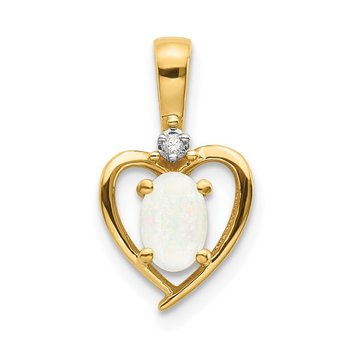 14k Opal and Diamond Heart Pendant