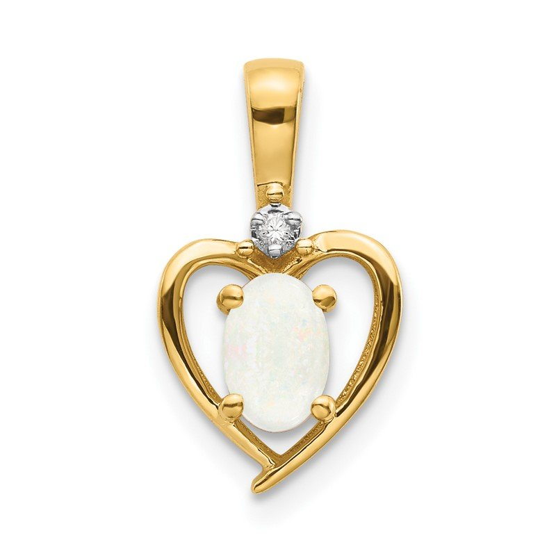 Lester Martin Online Collection 14k Opal and Diamond Heart Pendant