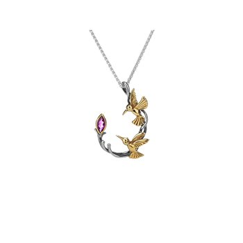 Hummingbird Necklace (Rhodolite Garnet)