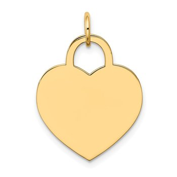 14k Large Engravable Heart Charm