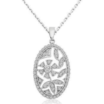 14k White Gold Round Shape 0.53ctw Diamond Pendant