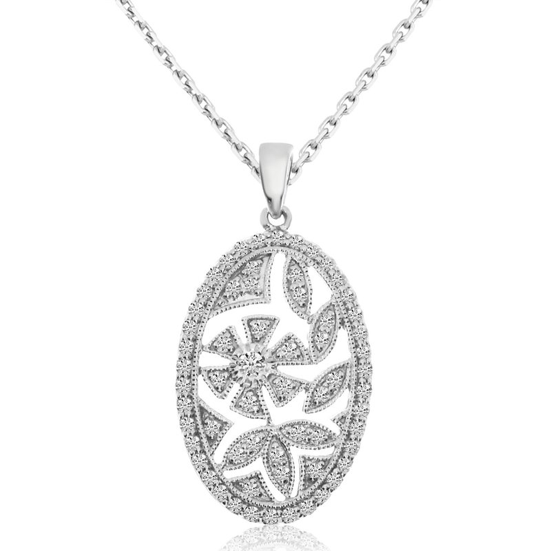 Color Merchants 14k White Gold Round Shape 0.53ctw Diamond Pendant