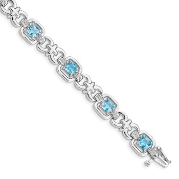 Sterling Silver Rhodium-plated Diamond & Light Swiss Blue Topaz Bracelet