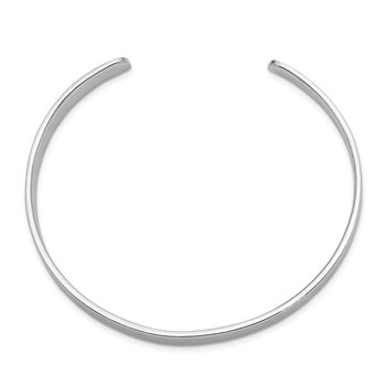 Sterling Silver Rhod. Plated Rhodium Plated Polished Cuff Bangle