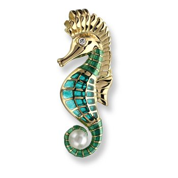 Blue Seahorse Pendant.18K -Diamond and Akoya Pearl - Plique-a-Jour